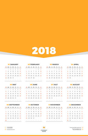 Calendar Poster Template For 2018 Year Week Starts On Sunday