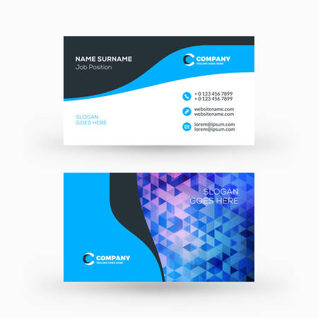 brand identity: Creative and clean double-sided business card vector template. Flat design vector mockup. Stationery design