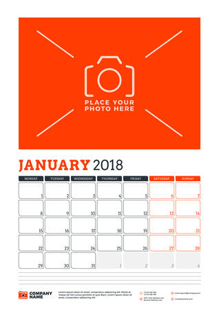 next day: Vector calendar planner template for 2018 year. January. Vector design print template with place for photo. Red and black colors. Week starts on Monday