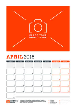 next day: Vector calendar planner template for 2018 year. April. Vector design print template with place for photo. Red and black colors. Week starts on Monday