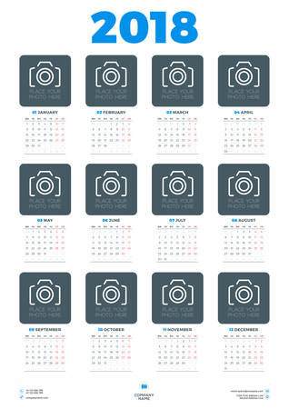 a3: Calendar Poster Template for 2018 Year. Week starts Monday. Stationery Design. Vector Calendar with Place for Photo on White Background