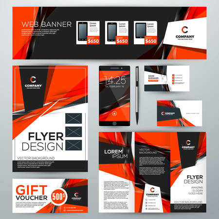 Set of stationery design templates corporate identity with abstract set of stationery design templates corporate identity with abstract vector background web banner wajeb Image collections