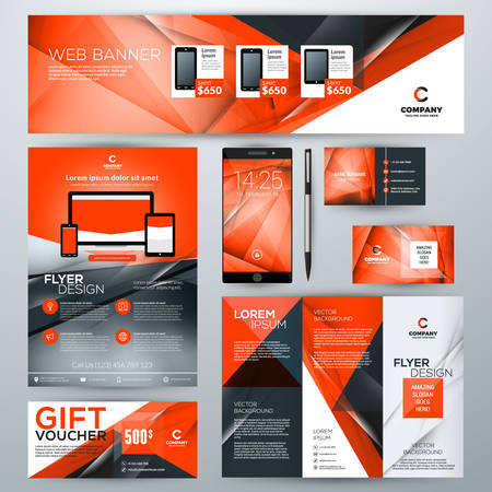 Set of stationery design templates. Corporate identity with abstract vector background. Web banner, flyer, booklet, gift voucher, business card, phone wallpaper Illustration