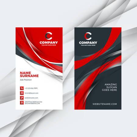 세로 양면 빨간색과 검은 색 명함 서식 파일. 벡터 일러스트 레이 션. 편지지 디자인