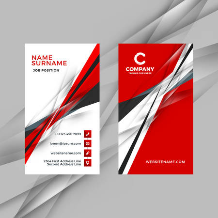 Vertical double-sided red and black business card template. Vector illustration. Stationery design