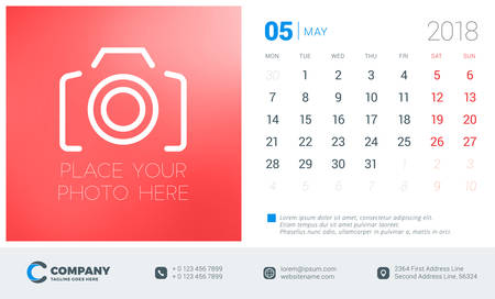 May 2018. Desk calendar design template with place for photo. Week starts on Monday. Vector Illustration Illustration