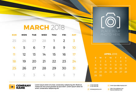 March 2018 Desk Calendar Design Template With Abstract Background