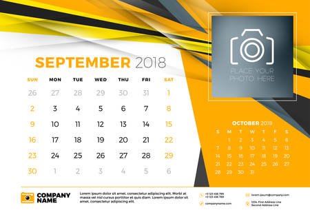 September 2018. Desk calendar design template with abstract background. Place for photo. Yellow and black colors. Two months on the page. Week starts on Sunday. Vector Illustration