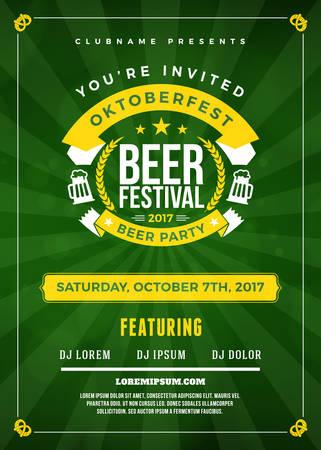 オクトーバーフェスト ビール祭り祭典。ビール党のためのタイポグラフィ ポスターやチラシ テンプレート
