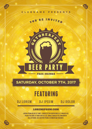 saturday night: Oktoberfest beer festival celebration. Typography poster or flyer template for beer party