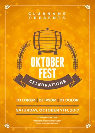 Oktoberfest beer festival celebration. Typography poster or flyer template for beer party
