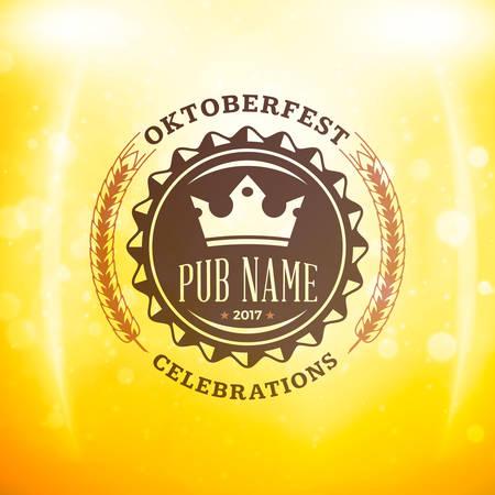coaster: Beer festival Oktoberfest celebrations. Vintage beer badge on the golden beer background with light effects. Vector design element Illustration