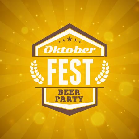pretzel: Beer festival Oktoberfest celebrations. Vintage beer badge on the golden beer abstract background. Vector design element Illustration