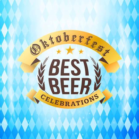 brewery: Beer festival Oktoberfest celebrations. Vintage beer badge on the traditional Bavarian flag background wuth light effect Illustration