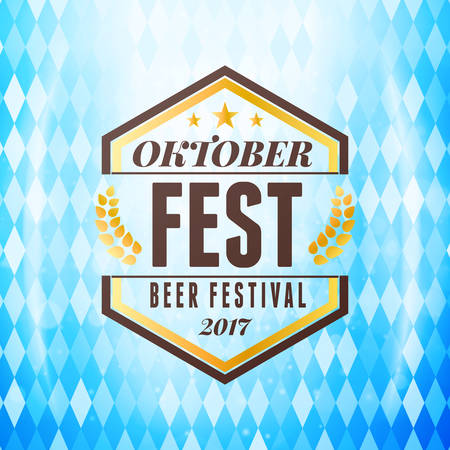 Beer festival Oktoberfest celebrations. Vintage beer badge on the traditional Bavarian flag background wuth light effect Illustration
