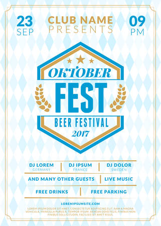 saturday night: Beer festival Oktoberfest celebrations. Vintage beer label on the traditional Bavarian linen flag background. Typography poster or flyer template for beer party.