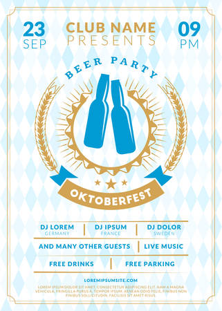 saturday night: Beer festival Oktoberfest celebrations. Vintage beer label on the traditional Bavarian linen flag background. Typography poster or flyer template for beer party