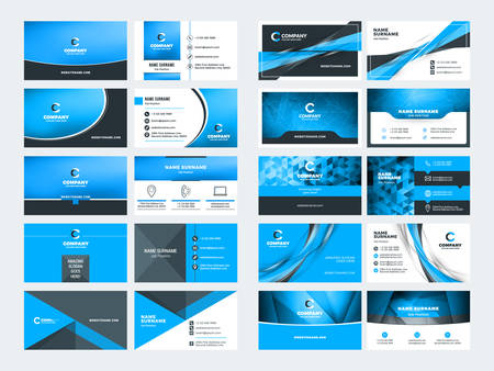 Double sided business card templates. Blue color theme. Stationery design vector set. Vector illustration