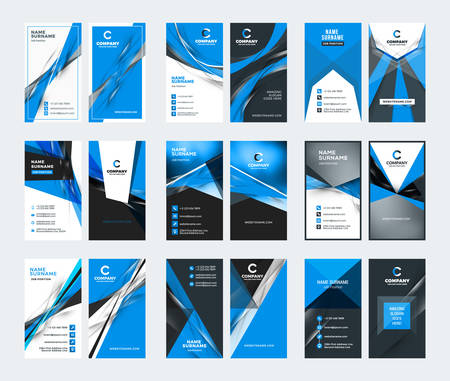 Double sided vertical business card templates. Blue color theme. Stationery design vector set. Vector illustration Çizim