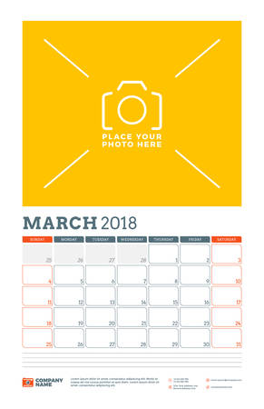 next year: Vector calendar planner template for 2018 year. March. Vector design print template with place for photo. Week starts on Sunday
