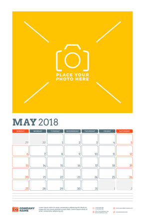 planner: Vector calendar planner template for 2018 year. May. Vector design print template with place for photo. Week starts on Sunday