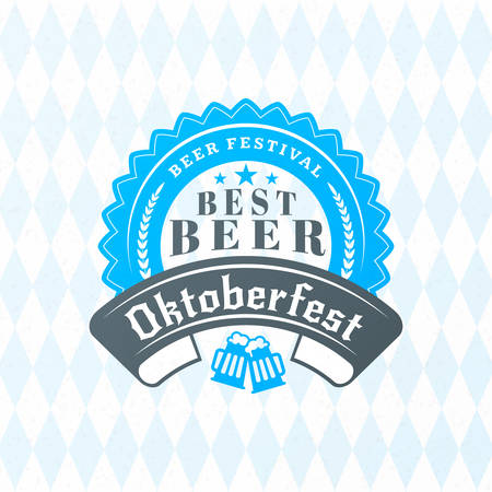 Beer festival Oktoberfest celebrations. Vintage beer badge on the traditional Bavarian linen flag background Illustration