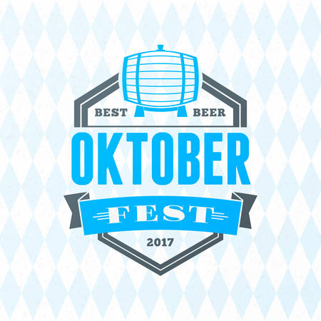 pretzel: Beer festival Oktoberfest celebrations. Vintage beer badge on the traditional Bavarian linen flag background Illustration