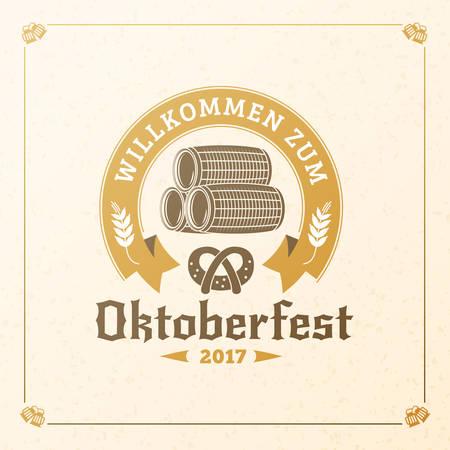pretzel: Beer festival Oktoberfest celebrations. Vintage beer badge. Vector design element Illustration