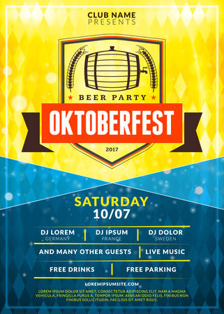 saturday night: Oktoberfest beer festival celebration. Typography poster or flyer template for beer party. Vintage beer label on the golden beer background with light effects