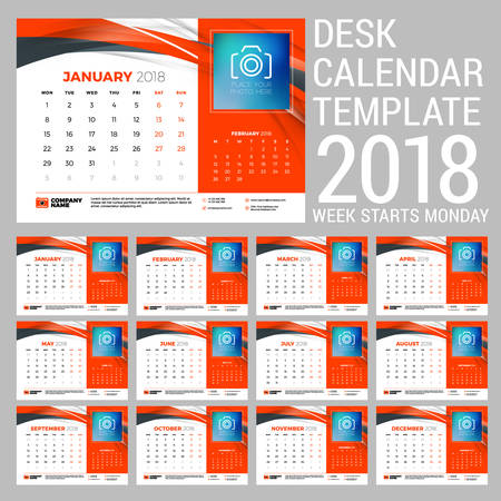 Desk calendar set for 2018 year. Design print template with abstract background. Place for photo. Red and black colors. Two months on the page. Week starts on Monday. Vector Illustration Illustration
