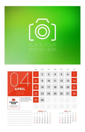 Wall Calendar Template For 2018 Year April Vector Design Print