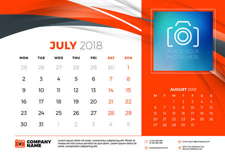 July 2018. Desk calendar design template with abstract background. Place for photo. Red and black colors. Two months on the page. Week starts on Monday. Vector Illustration