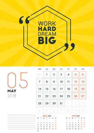 calendar design: Wall Calendar Template for May 2018. Vector Design Print Template with Typographic Motivational Quote on Yellow Textured Background. Week starts on Monday
