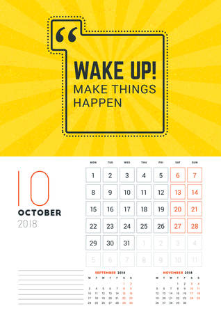 numbers abstract: Wall Calendar Template for October 2018. Vector Design Print Template with Typographic Motivational Quote on Yellow Textured Background. Week starts on Monday