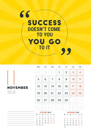 Wall Calendar Template For February 2018. Vector Design Print ...