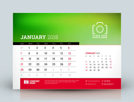 next year: Vector calendar planner design template. January 2018. Place for photo. Red and black colors. Two months on the page. Week starts on Sunday Illustration