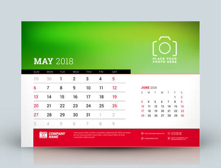 next year: Vector calendar planner design template. May 2018. Place for photo. Red and black colors. Two months on the page. Week starts on Sunday