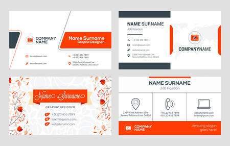 Set of 4 business card templates. Flat design vector illustration. Stationery design. Red and black color theme