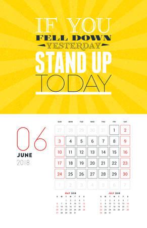 Wall Calendar Template for June 2018