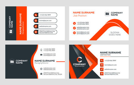 Set of 4 business card templates stationery design. Illustration