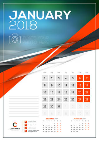 Vector Calendar Template For January 2018 Vector Design Print