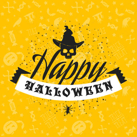Happy Halloween greeting card. Typography design elements on seamless background. Black and yellow color theme. Vector illustration