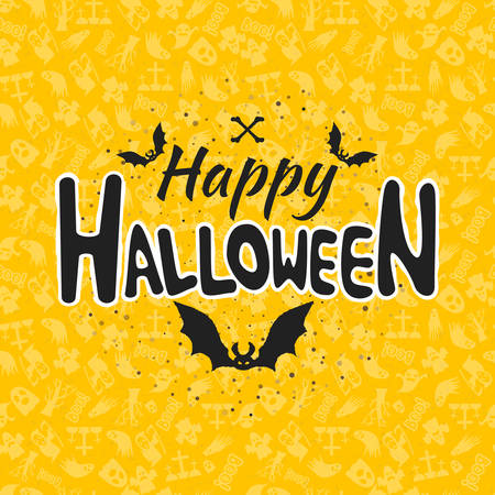 31st: Happy Halloween greeting card. Typography design elements on seamless background. Black and yellow color theme. Vector illustration
