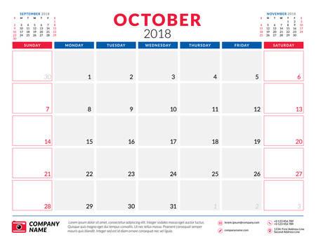 October 2018. Calendar planner design template. Week starts on Sunday. Stationery design Illustration