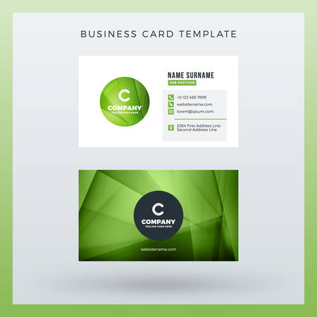 Double sided horizontal business card template with abstract background. Illustration