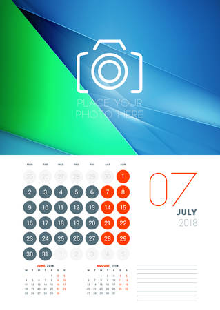 Wall calendar template for July 2018.
