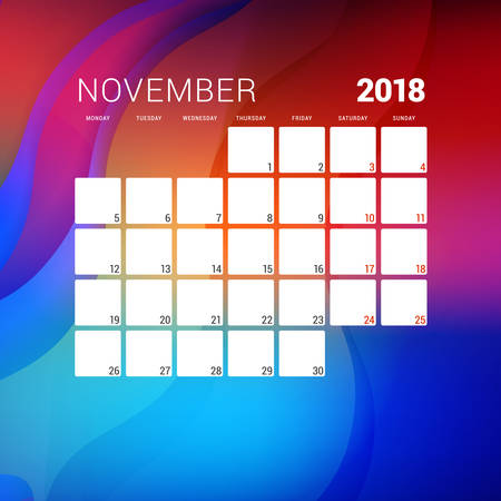 November 2018. Calendar planner design template with abstract background. Week starts on Monday Illustration
