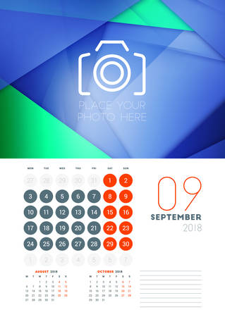 Wall calendar template for September 2018. Vector design print template with abstract background or place for photo. Week starts on Monday Illustration