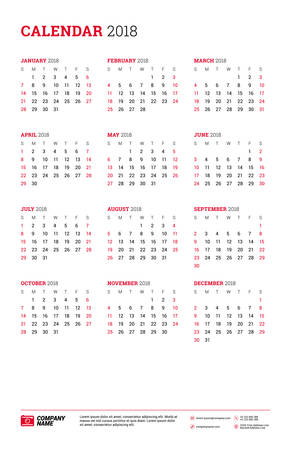Vector Calendar Poster For 2018 Year Week Starts On Sunday
