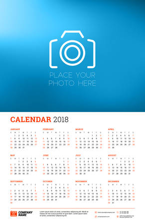 Vector calendar poster for 2018 Year. Week starts on Sunday. Stationery design template with place for photo